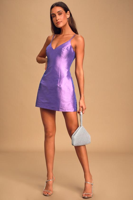 My Desire Purple Metallic V-Neck Mini Dress