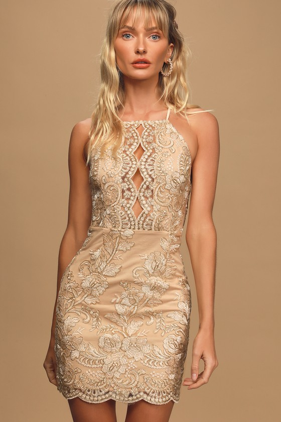 Never Miss A Chance Beige Embroidered Lace Cutout Mini Dress