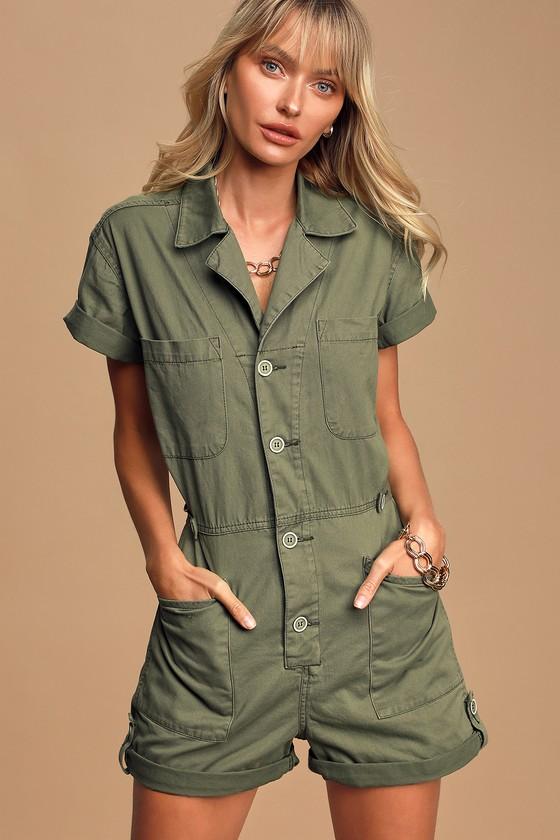 70s Shorts | Denim, High Rise, Athletic Parker Olive Green Button-Up Romper - Lulus $118.00 AT vintagedancer.com