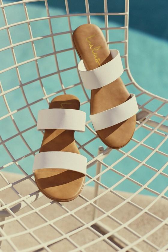 1950s Style Shoes | Heels, Flats, Saddle Shoes Oona White Slide Sandal Heels - Lulus $21.00 AT vintagedancer.com