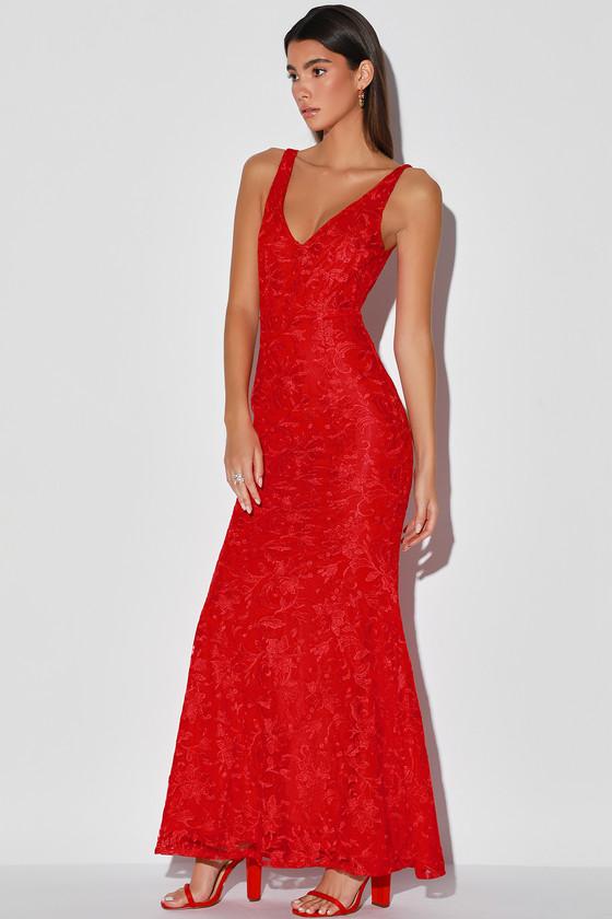 Flawless Love Red Lace Mermaid Maxi Dress