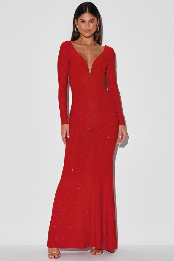 Glamorous in Glitter Burgundy Long Sleeve Backless Maxi Dress