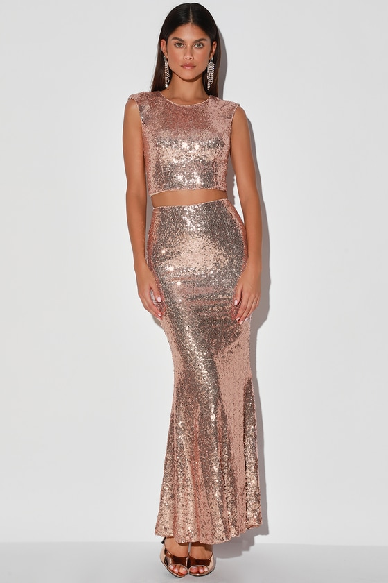 Under the Starlight Rose Gold Sequin Two-Piece Maxi Dress