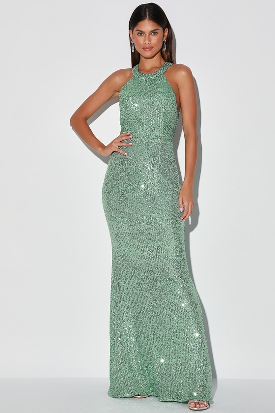Famously Chic Mint Green Sequin Halter Mermaid Maxi Dress