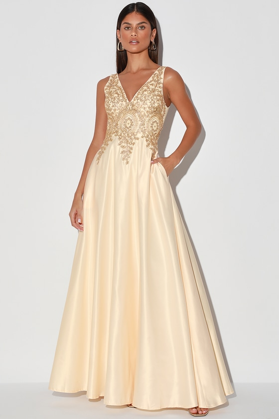 Vintage Evening Dresses and Formal Evening Gowns My Lover Champagne Embroidered Lace Maxi Dress - Lulus $95.00 AT vintagedancer.com