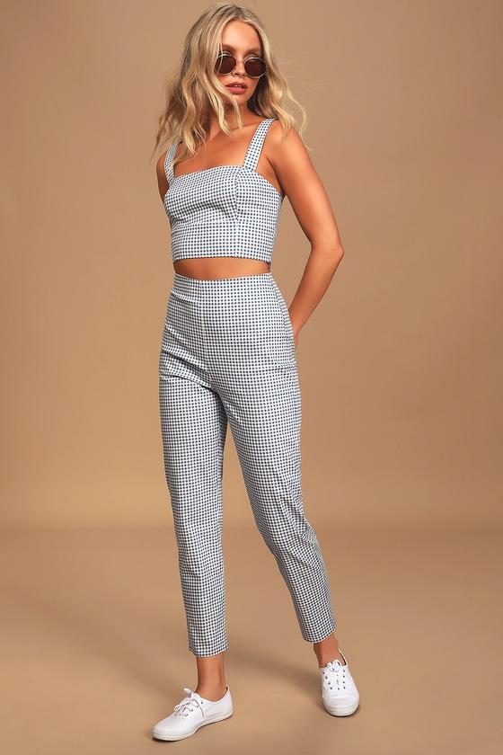 60s – 70s Pants, Jeans, Hippie, Bell Bottoms, Jumpsuits Follow The Sun Blue Gingham Trouser Pants - Lulus $52.00 AT vintagedancer.com