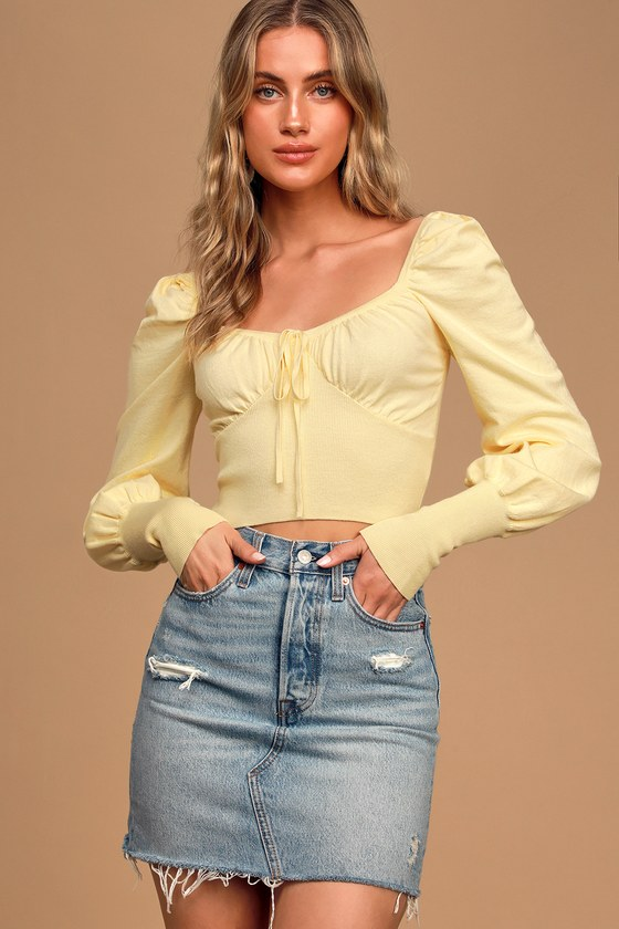 Be Sweet Light Yellow Long Sleeve Cropped Sweater Top
