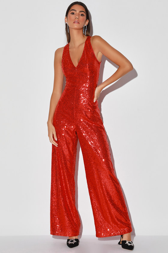 Vintage Overalls & Jumpsuits Where the Wild Blings Are Red Sequin Wide-Leg Jumpsuit  Lulus $95.00 AT vintagedancer.com