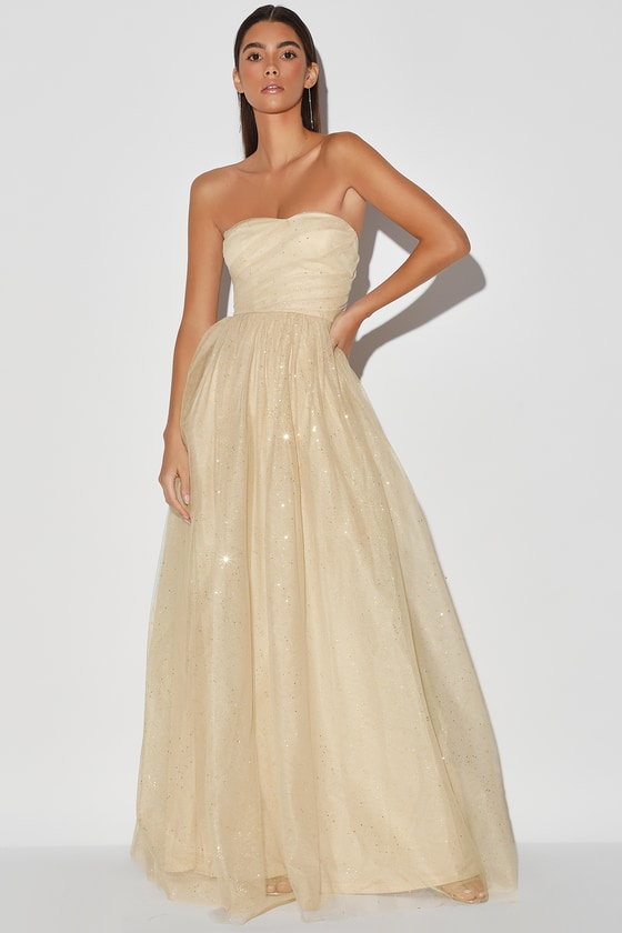 1950s Formal Dresses & Evening Gowns to Buy Born to Sparkle Cream and Gold Glitter Strapless Maxi Dress - Lulus $99.00 AT vintagedancer.com
