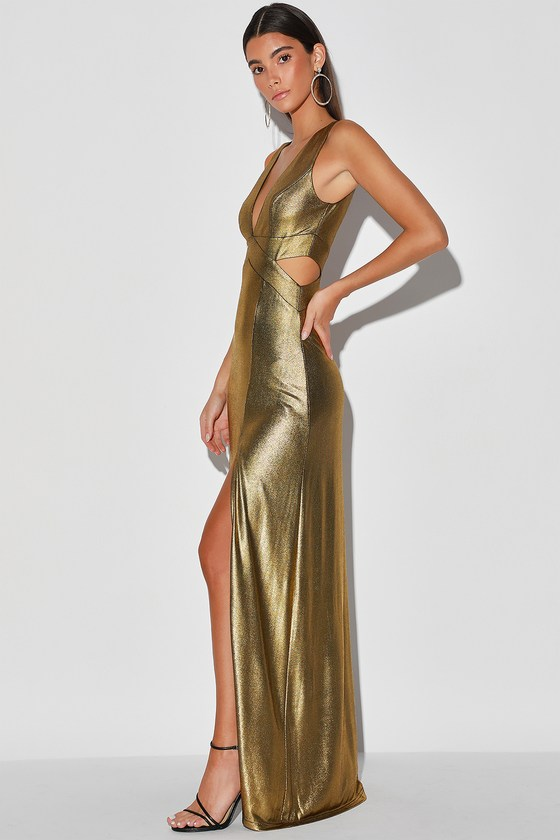 70s Prom, Formal, Evening, Party Dresses True Glamour Gold Metallic Sleeveless Cutout Maxi Dress - Lulus $89.00 AT vintagedancer.com