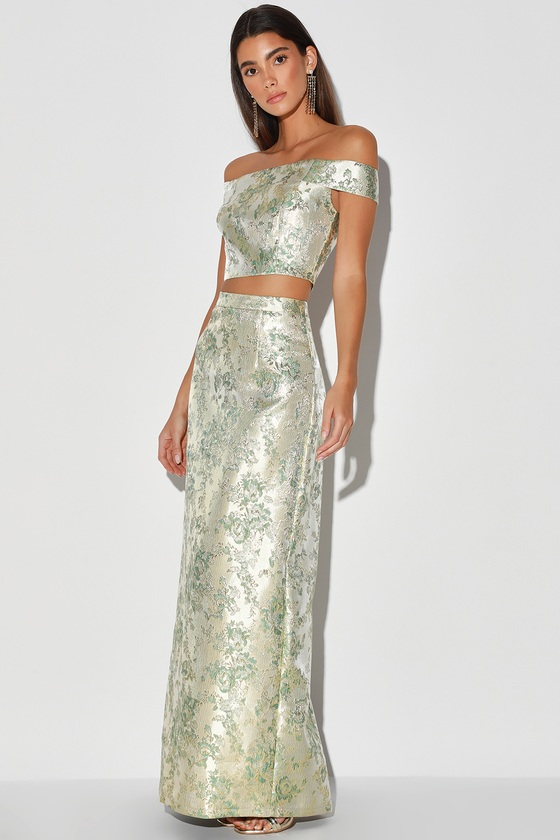 Evening Gleam Sage Green and Gold Jacquard Two-Piece Maxi Dress