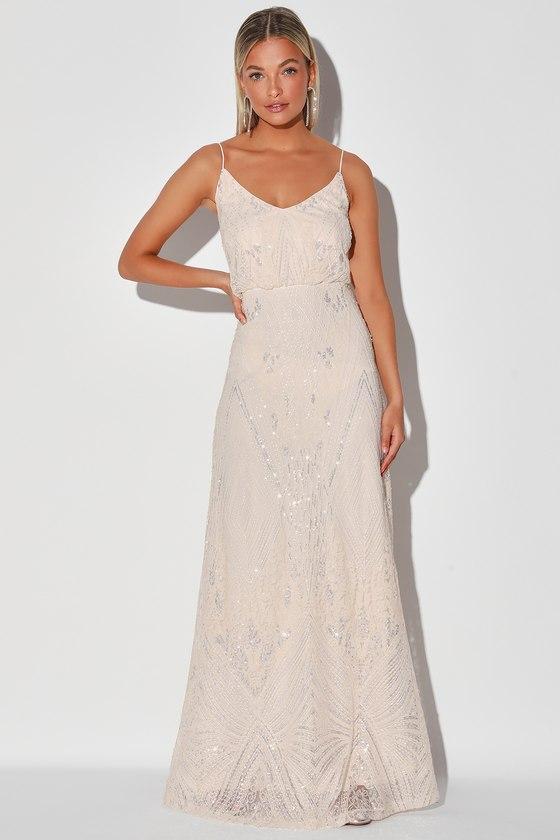1920s Wedding Dresses- Art Deco Wedding Dress, Gatsby Wedding Dress Youre So Sweet Cream Sequin Embroidered Sleeveless Maxi Dress - Lulus $129.00 AT vintagedancer.com