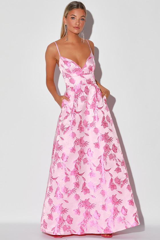 With Passion Pink Floral Print Jacquard Sleeveless Maxi Dress