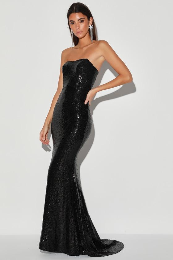 Impress You Black Sequin Strapless Mermaid Maxi Dress