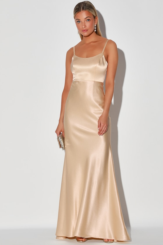 Vintage Evening Dresses and Formal Evening Gowns Make You Shine Champagne Satin Mermaid Maxi Dress - Lulus $85.00 AT vintagedancer.com