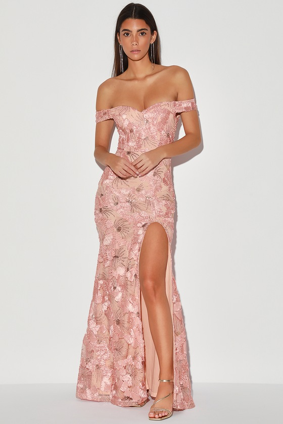 True to Your Love Blush Pink Off-The-Shoulder Maxi Dress