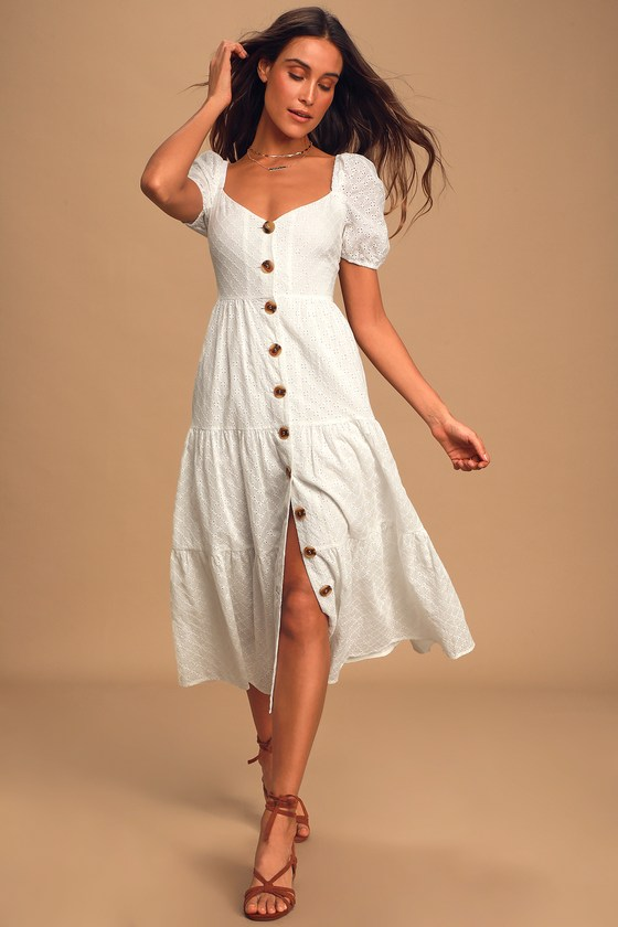 You're My Home White Eyelet Lace Button Front Tiered Midi Dress