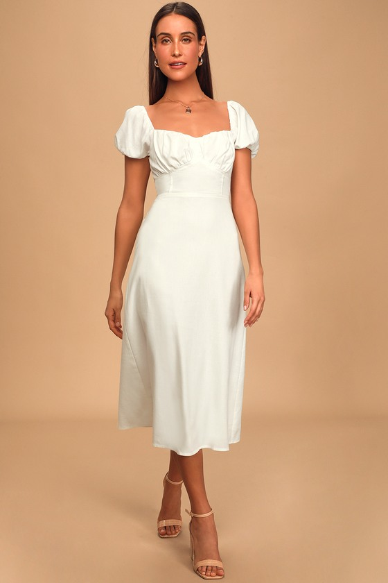 Dream Of Love White Puff Sleeve Smocked Midi Dress