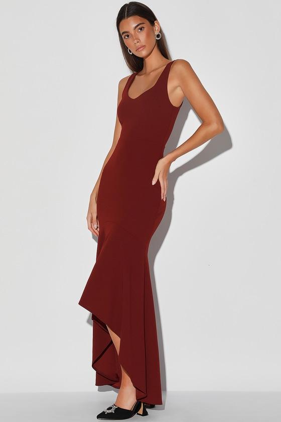 Pretty Burgundy Dress - High-Low Maxi Dress - Trumpet Dress