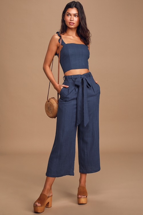 Out of the Blue Navy Blue Button-Front Wide-Leg Pants