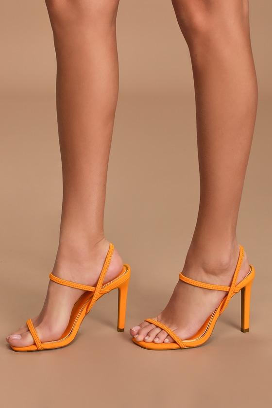 60s Shoes, Boots Emeberleigh Flame Orange Strappy High Heel Sandal Heels - Lulus $39.00 AT vintagedancer.com