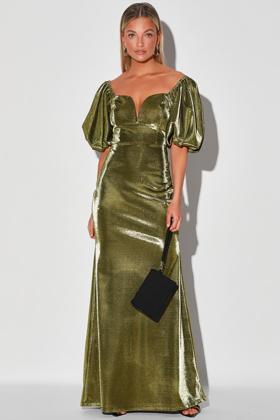 70s Prom, Formal, Evening, Party Dresses Youre Worth It Gold Metallic Puff Sleeve Mermaid Maxi Dress - Lulus $75.00 AT vintagedancer.com