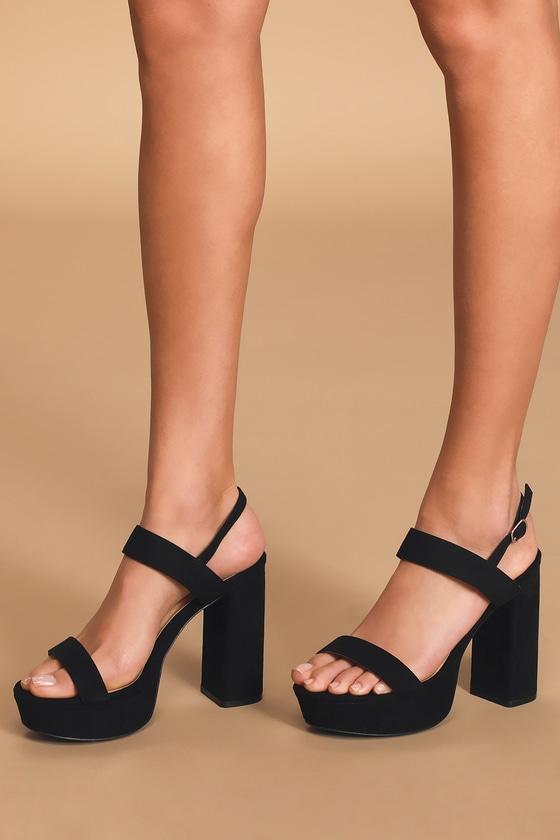 Acee Black Suede Platform Heels - $37