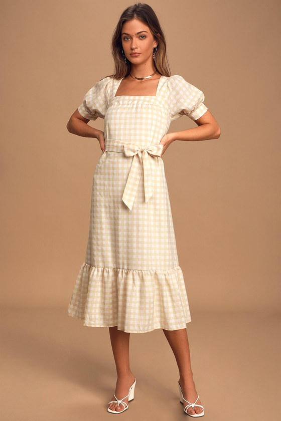 Love Me Sweeter Peach Gingham Puff Sleeve Midi Dress
