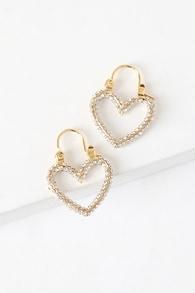 Heartbreaker 14KT Gold Rhinestone Mini Pave Hoop Earrings
