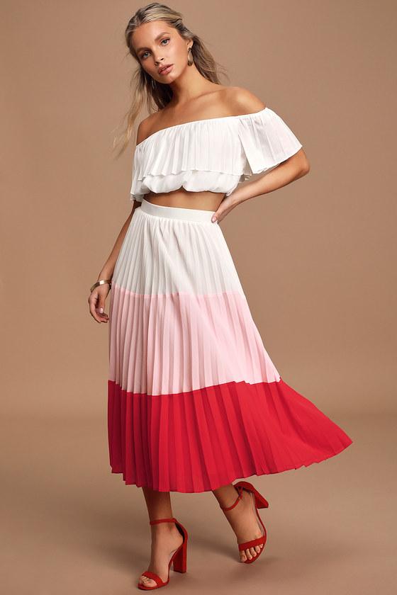 70s Dresses – Disco Dress, Hippie Dress, Wrap Dress Perfectly Punctual White Colorblock Pleated Two-Piece Dress - Lulus $92.00 AT vintagedancer.com
