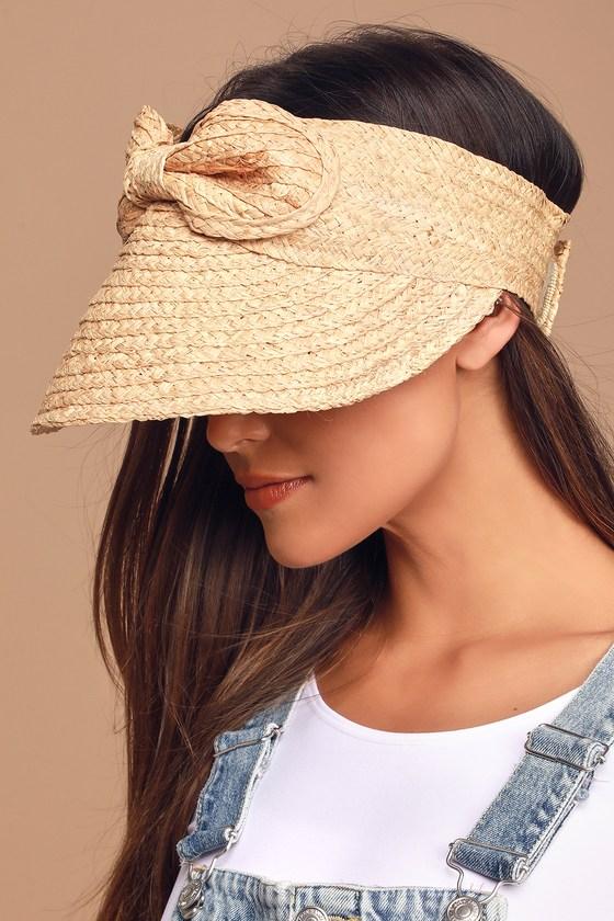 Women's Vintage Hats | Old Fashioned Hats | Retro Hats Vacation Visions Beige Raffia Visor - Lulus $30.00 AT vintagedancer.com