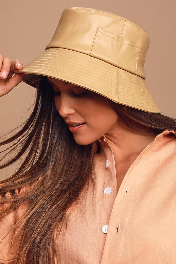 Women's Vintage Hats | Old Fashioned Hats | Retro Hats Wave Camel Vegan Leather Bucket Hat - Lulus $89.00 AT vintagedancer.com