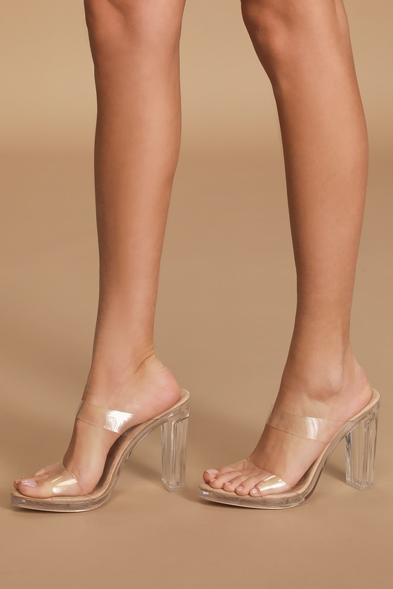 Nude Lucite Heels - High Heel Sandals