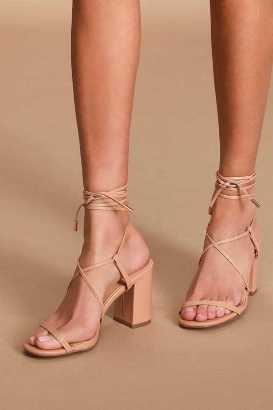 Cute Nude Heels - Lace-Up Heels - Beige