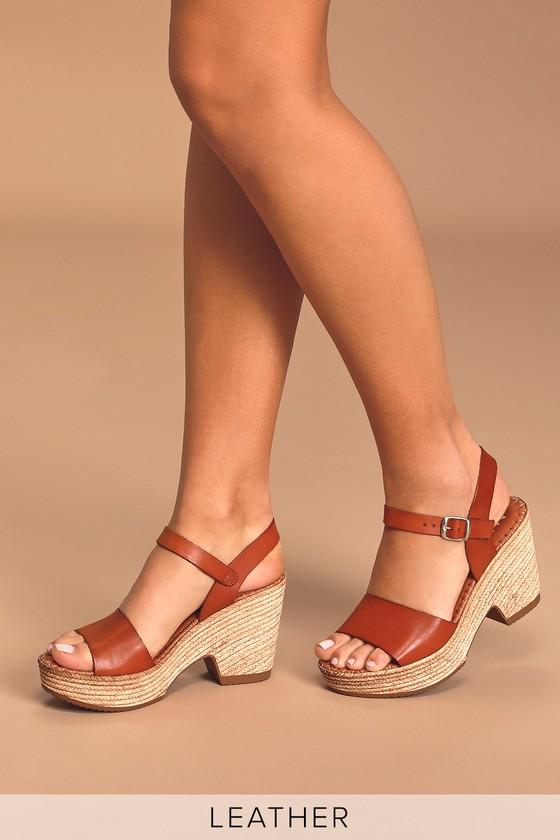 60s Shoes, Boots Era Cue Tan Leather Espadrille Wedge Sandal Heels - Lulus $79.00 AT vintagedancer.com