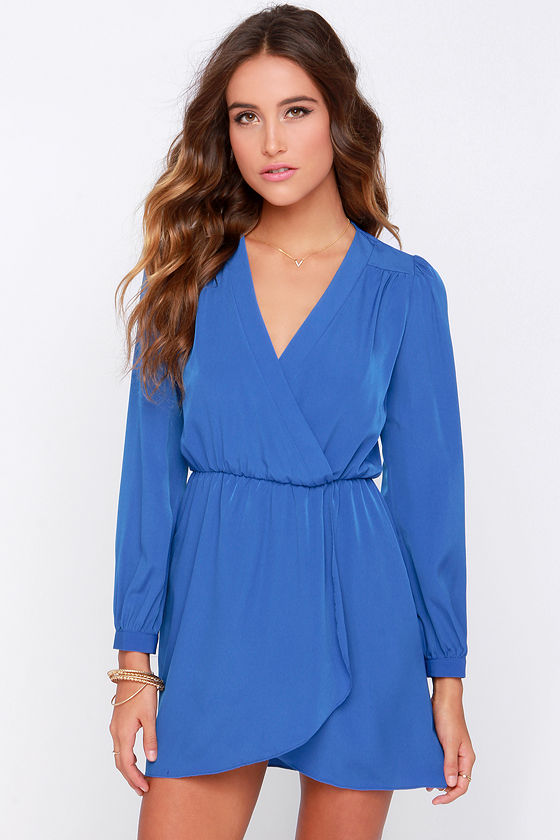 83f5ba8c31 Cute Blue Dress - Wrap Dress - Long Sleeve Dress