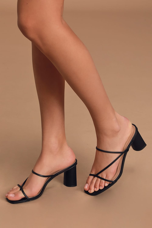 Black High Heel Sandals Strappy