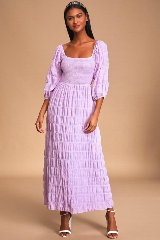 Rue Lilac Smocked Puff Sleeve Maxi Dress