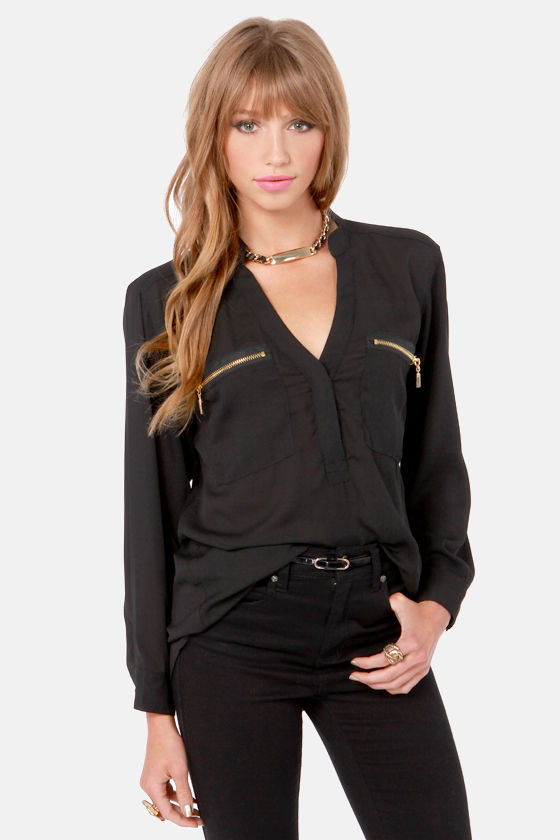 Skinny Zipping Black Top at Lulus.com!