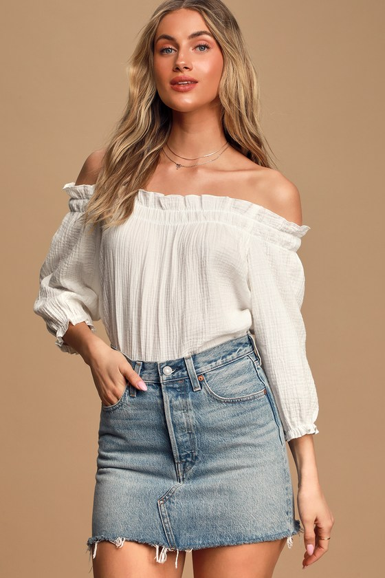 Sweet One White Off-the-Shoulder Top