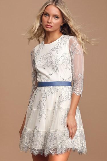Elite Chic Cream Floral Lace Mini Skater Dress