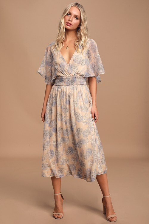 Subtle Romance Beige Floral Print Ruffled Midi Dress
