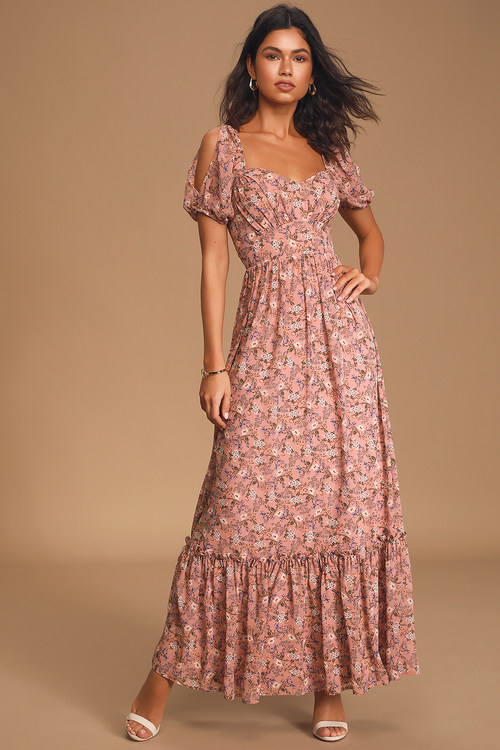 Feeling Fond Mauve Floral Print Puff Sleeve Maxi Dress