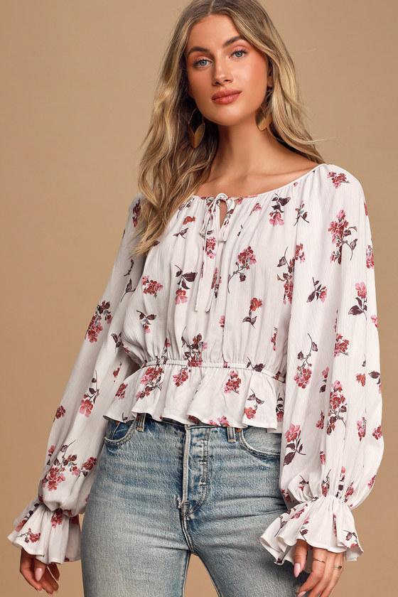 Get Growing White Floral Print Ruffled Long Sleeve Top