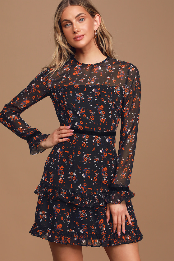 Lulus   Floral to See Black Floral Print Long Sleeve Mini Dress   Size X-Small   100% Polyester