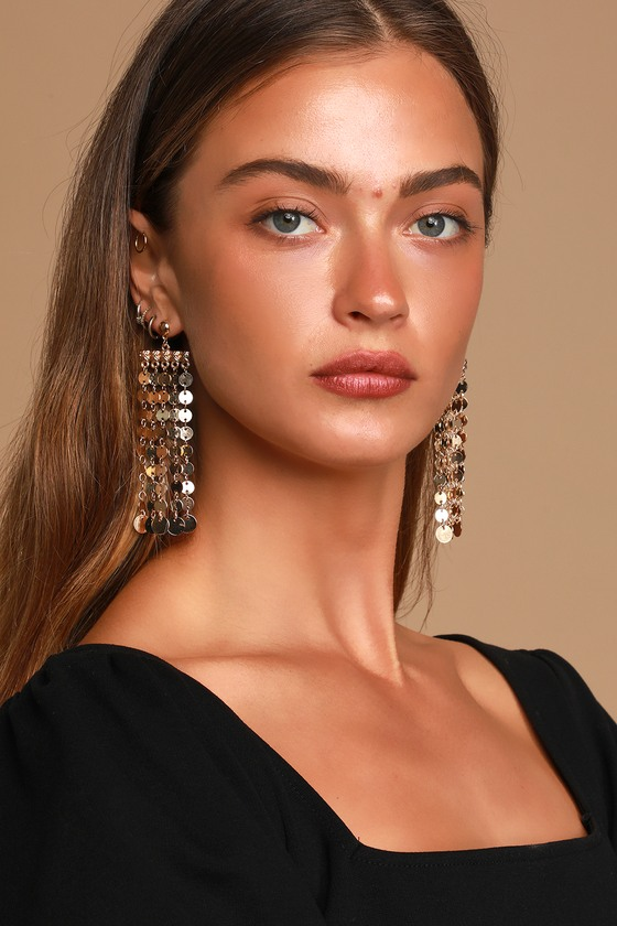 Vintage Style Jewelry, Retro Jewelry Late Night Fiesta Gold Chain Fringe Earrings - Lulus $22.00 AT vintagedancer.com