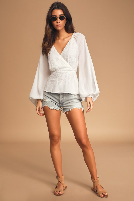 Loving Arms White Lace Long Sleeve Peplum Top