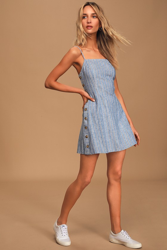 Pier and There Blue and White Striped Side-Button Mini Dress