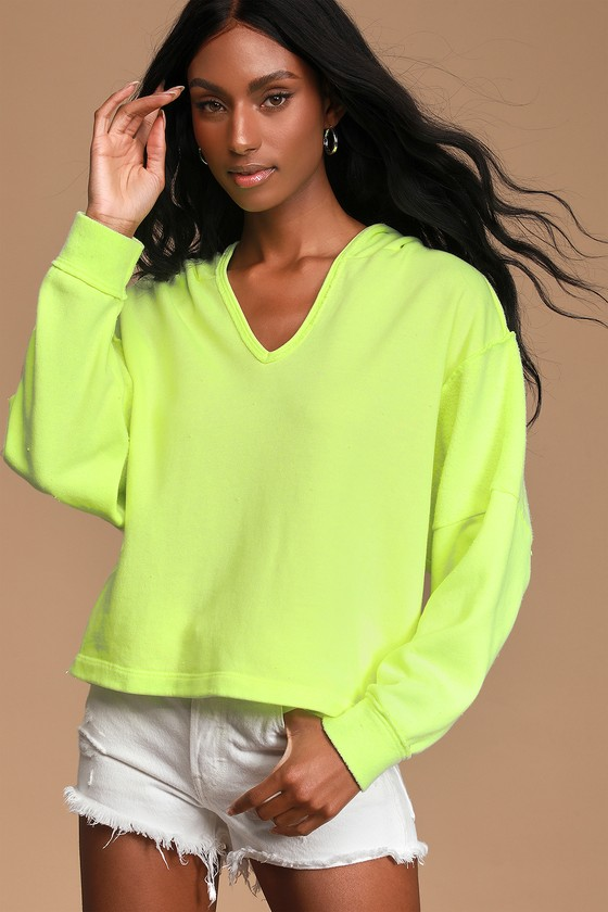 Vintage Sweaters, Retro Sweaters & Cardigan Ladies Just a Chill Neon Green Fleece Pullover Hoodie - Lulus $52.00 AT vintagedancer.com