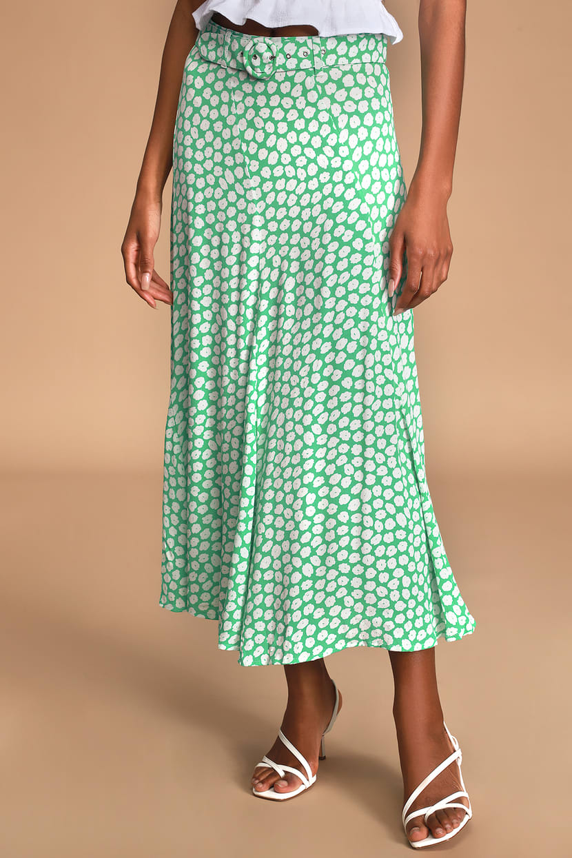 Valensole Green Floral Print Belted Midi Skirt
